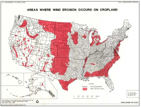 Areas Where Wind Erosion Occus On Cropland